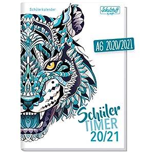 Schulstuff Schülertimer A6 Mini 2020/2021 [Blue Tiger] Schülerkalender, Schüler-Tagebuch, Schülerplaner - organisiert durchs neue Schuljahr | nachhaltig & klimaneutral