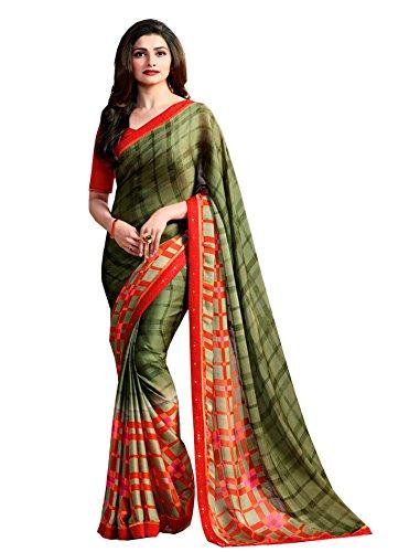 SHIVALIKA TEX Women'sGeorgette Saree With Blouse Piece (SITARA_MAHENDI_2_Mahendi)