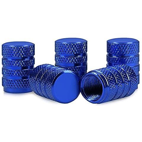 5in1 Set: kwmobile Ventilkappen in Blau - Metall Kappen für Auto Motorrad Fahrrad Reifen Ventile
