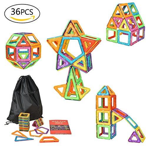 eLander Magnetische Bausteine Kinder 36tlg Magnetspielzeug, 3D Pädagogische Spielzeug, Geburtstag Kindertag Geschenk für Kinder ab 3 Jahre