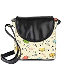 Snoogg Meow Art Cute Womens Sling Bag Small Size Tote Bag
