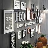 Fotorahmen Collage Massivholz Kombination Schwarz und Weiß Klassischen Rahmen Wohnzimmer Kreative Hintergrund Wand Ornamente (Farbe : Bunte)