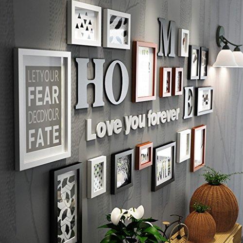 Fotorahmen Collage Massivholz Kombination schwarz und weiß klassischen Rahmen Wohnzimmer kreative Hintergrund Wand Ornamente ( Farbe : Bunte )