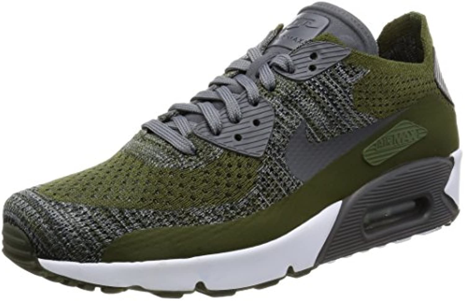 Nike Hombre Air MAX 90 Ultra 2.0 Flyknit - Gruesos Verde/Oscuro Gris Blanco, 41