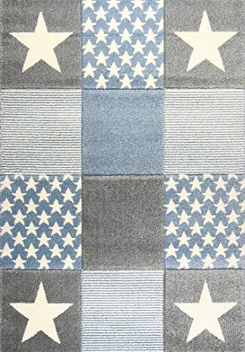 Livone Spielteppich Moderner Teppich mit Konturenschnitt Kinderzimmer Kinderteppich mit Sternen in Weiss Silber grau blau Größe 160 x 220 cm