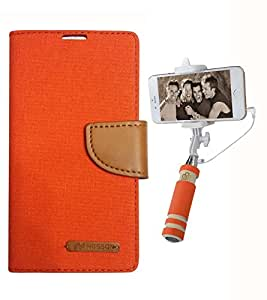 Aart Fancy Wallet Dairy Jeans Flip Case Cover for Redmi2S (Orange) + Mini Fashionable Selfie Stick Compatible for all Mobiles Phones By Aart Store