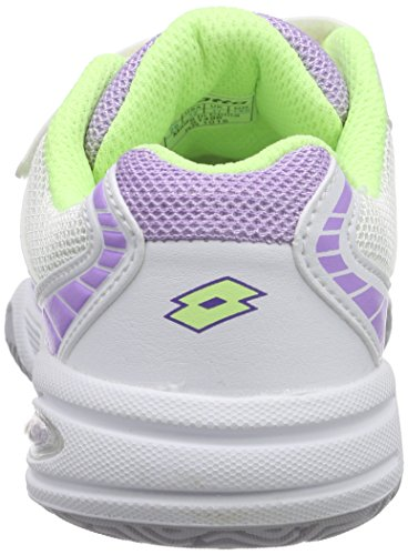 Lotto Stratosphere Iii Cl S, Chaussures de Tennis mixte enfant Blanc - Weiß (WHT/YLW NEO)