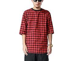 Pizoff T-shirt lunga con inserto in tessuto e zip tartan Print