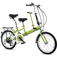 SHIOUCY Bicicleta Plegable 20 Pulgadas, para Adultos, niños, Viaje, 2 Asientos,