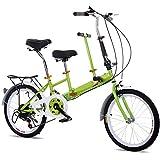 """SHIOUCY Tandem Bicicletta Pieghevole da 20"""", per Adulti, per Bambini, Travel Bicycle Camp, 2 posti, Pieghevole, per Bambini, Verde"""