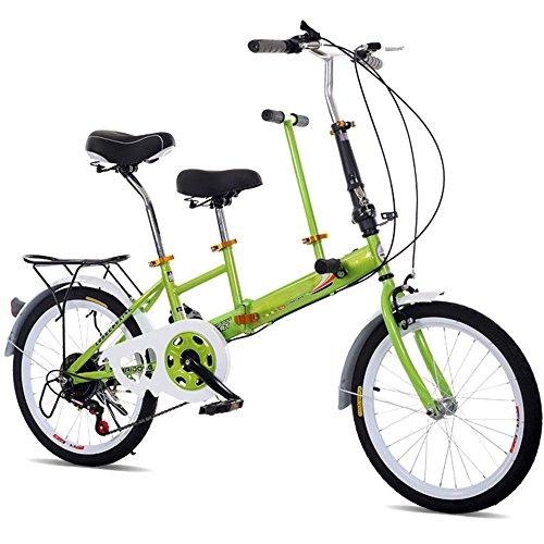 SHIOUCY Tandem Bicicletta Pieghevole da 20', per Adulti, per Bambini, Travel Bicycle Camp, 2 posti, Pieghevole, per Bambini