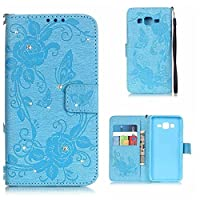 Galaxy Grand Prime Case, KKEIKO® Galaxy Grand Prime Wallet Case [with Free Screen Protector], Premium Flip Leather Case and Cover with Bling Rhinestone, Shockproof Bumper Cover Case for Samsung Galaxy Grand Prime (Blue)
