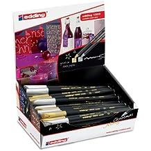 Edding 4-50297 Color Pen 1200 - Rotulador de fibra (50 unidades, en caja), color dorado y plateado
