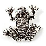 Diseño de rana broche con forma de piedras de Pirita (diseño de madera envejecida tono...