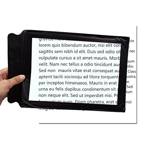 Fliyeong Lupe Handheld Portable A4 Lesezeichen Lupe 3-fache Vergrößerung für Briefe lesen...