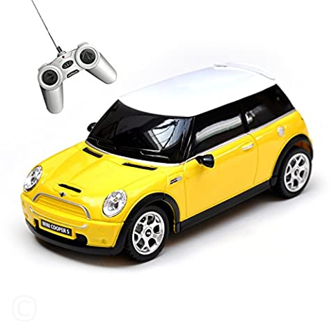 Mini Cooper Remote Radio Controlled Car 1:24 Scale Model Electric Toy R/C Yellow