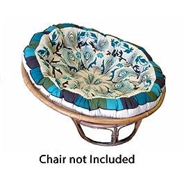 COTTON CRAFT Papasan – Polly Peacock – Coussin de chaise surrembourré – Bleu – Coussin de chaise surrembourré en coton…