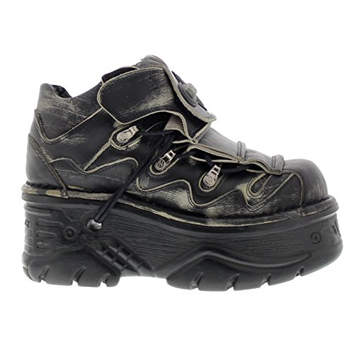 New Rock Womens M1075 C23 Turbo Leather Shoes Noir