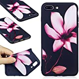 iPhone 7 Plus Black Case,iPhone 7 Plus TPU Case,COZY HUT Scratch Resistant TPU Bumper Clear Flexible Silicone Back Soft Protective Case Cover for iPhone 7 Plus,[Soft][Slim][Shock Absorption] iPhone 7 Plus Back Case,Premium iPhone 7 Plus Protector Case,Lightweight Protective Bumper Cover For iPhone 7 Plus - Lotus