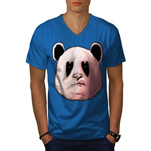 wellcoda Panda Lecken Feuerstelle Tier Männer L V-Ausschnitt T-Shirt