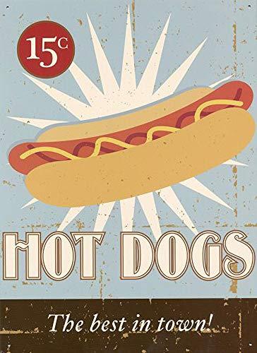 WallAdorn Das Beste in der Stadt! Hot Dogs Eisen Poster Malerei Blechschild Vintage Wanddekor für Cafe Bar Pub Home Bier Dekoration Handwerk