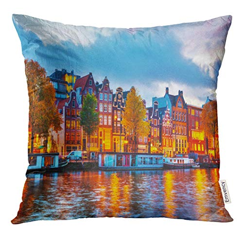 Throw Pillow Cover Europe Amsterdam City View with Amstel River at Sunset Holland Night Decorative Pillow Case Home Decor Square 18x18 Inches Pillowcase