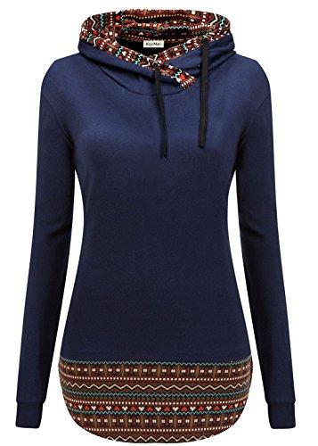 Langarm-hoodie Tunika (KorMei Damen Pullovershirt Schreag Kragen Kariert Kapuzenpullover Langarmshirt Blau M)