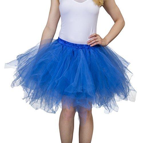 Dancina Damen Petticoat 50er Jahre Vintage Tutu Tüllrock [Sticker XXL] Königsblau Gr. 42-46