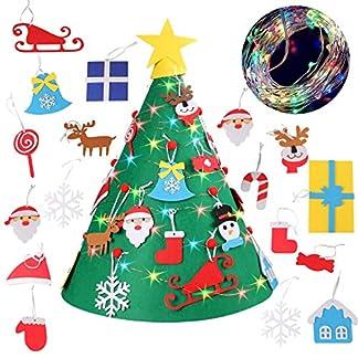 3D DIY Fieltro Árbol de Navidad con 18 unids Adornos Colgando 32 pies de Colores LED String Fairy Lights para Niños Regalos de Navidad de Navidad Decoraciones Para El Hogar