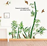 ufengke Grüner Bambus und Fliegende Vögel Wandsticker,Wohnzimmer Schlafzimmer Entfernbare Wandtattoos Wandbilder
