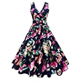 VEMOW Elegante Damen Abendkleider Plus Size Blumendruck Vintage Kleid Sleeveless beiläufige tägliche Partei Prom Swing Faltenrock Dress Cocktailkleid(Marine, EU-52/CN-5XL)