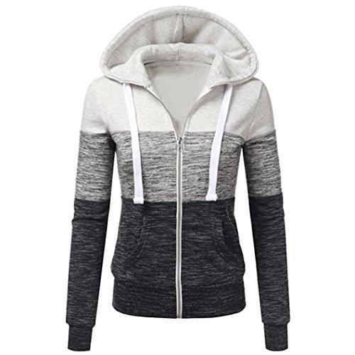 Internet Damen Herbst-beiläufige Lange Hülsen Dünne Reißverschluss Kontrast Kapuzen Jacken Mantel (Beige, M) (Jacke Kapuze Mantel)