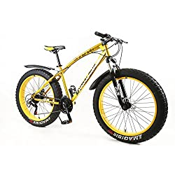Design 2019 Fatbike Gold/Gelb Farbe 26 Zoll 21 Gang Vollfederung Shimano Fat Tyre Modell Mountainbike Gold 47 cm RH Snow Bike Fat Bike