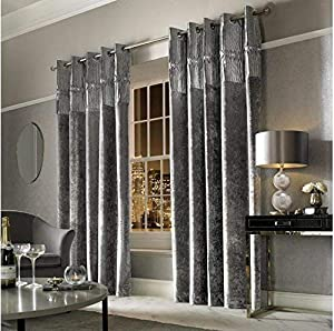 "Kylie Minogue Veda Silver Grey Velvet Pleated 90"" X 90"" - 229cm X 229cm Ring Top Curtains from Kylie Minogue"