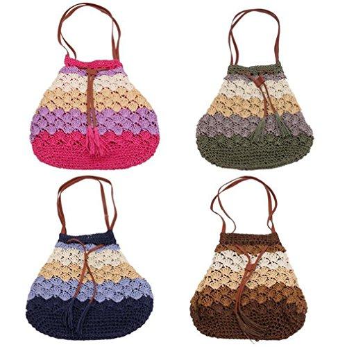 Donne Di Estate Della Boemia Spiaggia Borse Di Paglia Bucket Handbag (verde) caffè