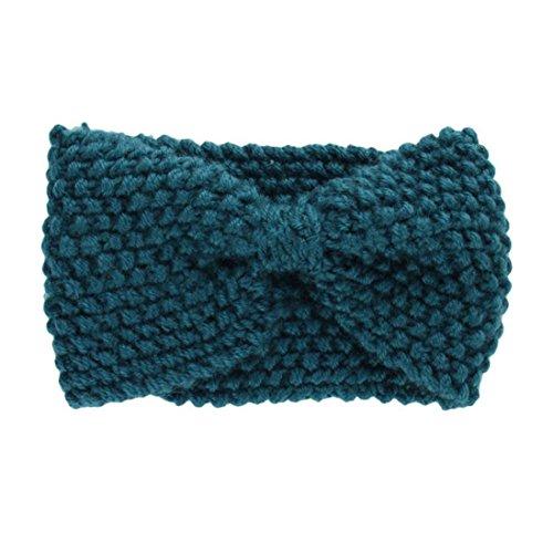 Hair Accessories, Kolylong® Accessoires Cheveux Hiver Crochet Flower Bow Tricoté Head Wrap Oreille Bandeau De Cheveux Warmer (Vert)