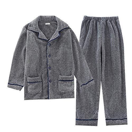 ZTING Männerschlafanzug, Herren Winter Lässige Pyjamas Sets Flanell Langärmlig Startseite Anzug Thick Wildleder Herren-Pyjama,M