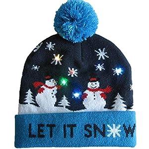 HDDSHJ Weihnachtsmütze,Led Schneemann Weihnachten Hüte Designs Blauen Rand Beanie Pullover Weihnachten Santa Hut Leuchten Strickmütze Für Junge Erwachsene Weihnachtsfeier