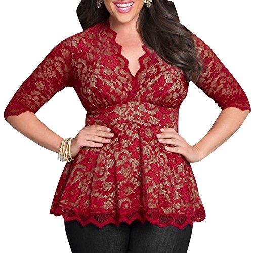 LaoZan Femmes Blouse Chemise Shirt Top Haut Grande Taille en Dentelle Kimono 3/4 Manches Rouge