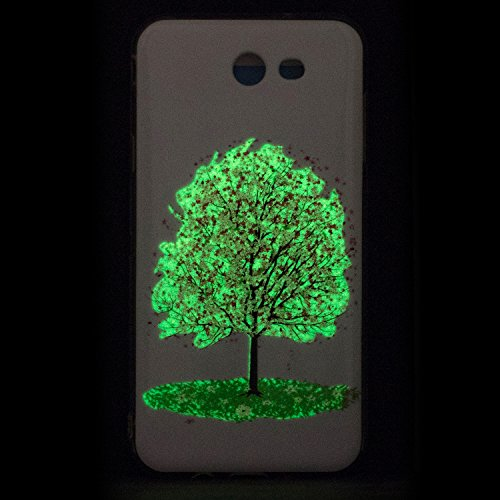 Coque Galaxy J7 Prime Luminous,Transparent Coque pour Samsung Galaxy On7 2016,Ekakashop Ultra Slim-fit Noctilucent avec Motif Campanula Coque de Protection en Soft TPU Silicone Crystal Clair Souple Ge Cerisier Luminous
