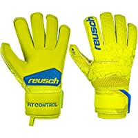 Reusch - Guanti da Portiere per Bambini Fit Control S1 Roll Finger, Bambini, 3972217, Lime/Safety Yellow, 4