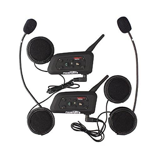 Fodsports BT Bluetooth Sturzhelm-Motorrad-Wechselsprechanlage-Lautsprecher Motorrad-Kopfh?rer-Kommunikations-Kopfh?rer 1200M Ski FM Radio-multi Interphone Gro? f¨¹r KARTING und Reiten (2 Ma?einheiten mit hartem Kopfh?rer)