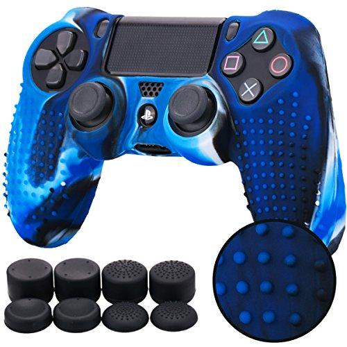 Pandaren STUDDED silicone peau de Housses Coque anti-dérapant pour le Manette PS4 x 1 (camouflage bleu ) + FPS PRO thumb grip pouce poignées x 8