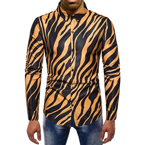 964603b8b96df3 HUNRIZI T-Shirt Top Mens Casual Printed Streifen Floral Fashion  Langarm-Knopf-Bluse