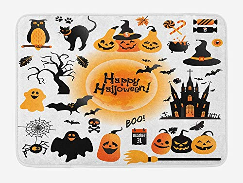 Halloween Bath Mat, All Hallows Day Objects Haunted House Owl and Trick or Treat Candy Black Cat, Plush Bathroom Decor Mat with Non Slip Backing, 23.6 W X 15.7 W Inches, Orange Black