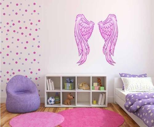 (60 Second Makeover Limited volle Farbe pink Engel Flügel Fee Mädchen Schlafzimmer Wandsticker Schlafzimmer Wandsticker Aufkleber Kinder schlafzimmer-dekoration - L)