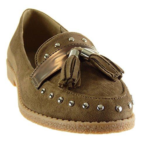 Angkorly - Chaussure Mode Mocassin slip-on femme clouté frange lanière Talon bloc 2 CM Kaki