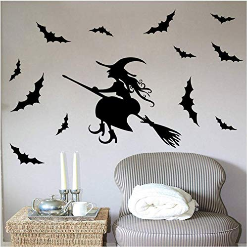 ers For Kids Rooms Girl Gift Hallowmas All Saints' Day Wall Decal Home Decoration Witch Bat Poster Wallpaper ()