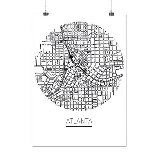 Atlanta Stadt Karte Mode Stadt Karte Mattes/Glänzende Plakat A3 (42cm x 30cm) | (Atlanta Kostüme)