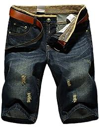 654a59c7c20d8 Bold Manner Bermuda Jeans Déchiré Homme Short Denim Classique Patalon ...